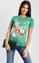 Eva Christmas Santa & Rudolph Print Cap Sleeve Tshirt In Green by Oops Fashion