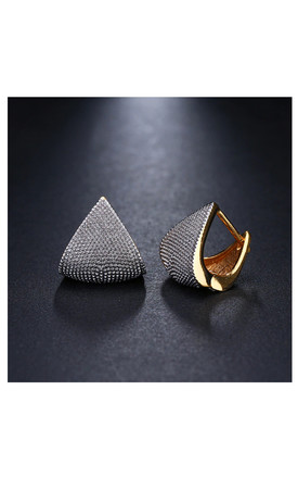 Gold and Silver Geometric Huggie Earrings by Always Chic
