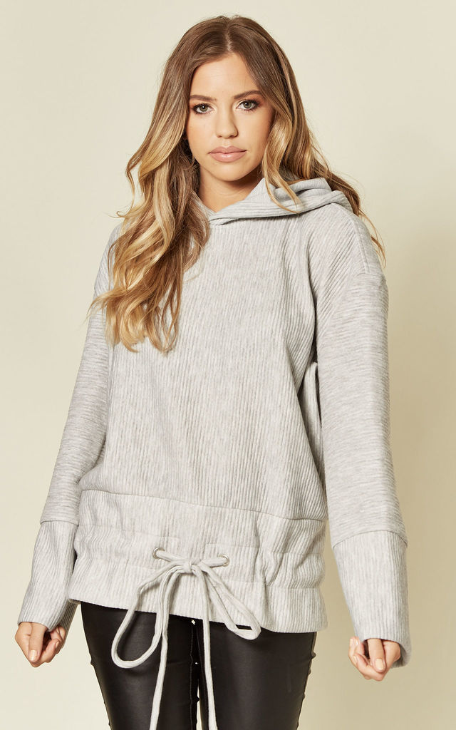 Haylow Hoodie With Drawstring Detail In Grey by Faux Fashion