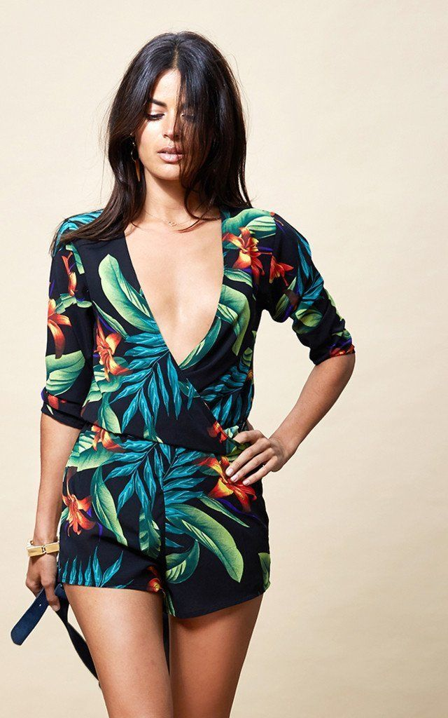 Tiago Playsuit in Black Tropical by Dancing Leopard