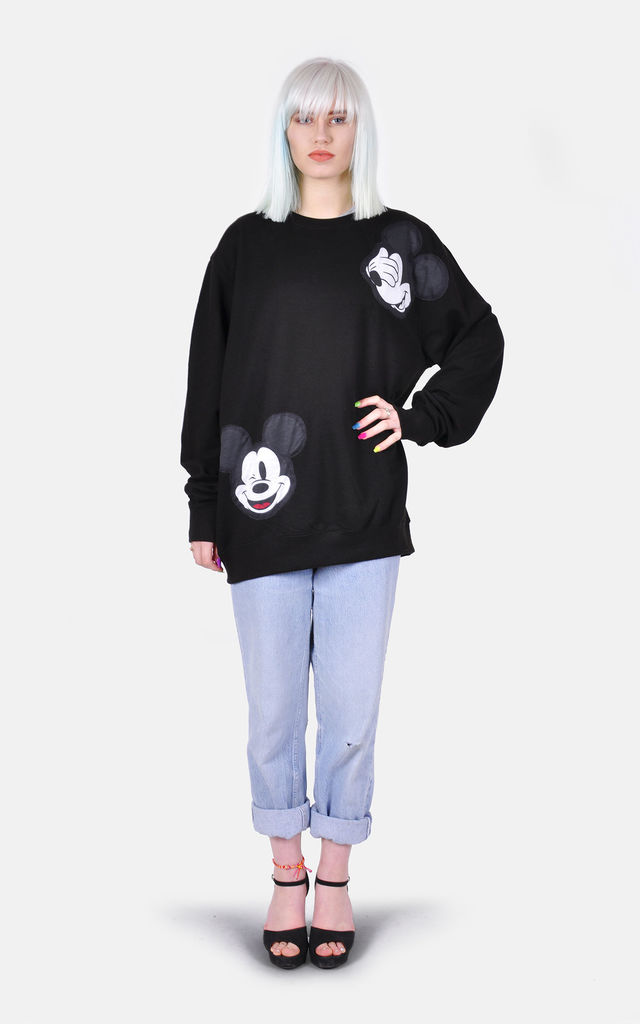 Black Oversized Jumper dress with Mickey Mouse Applique by The Left Bank