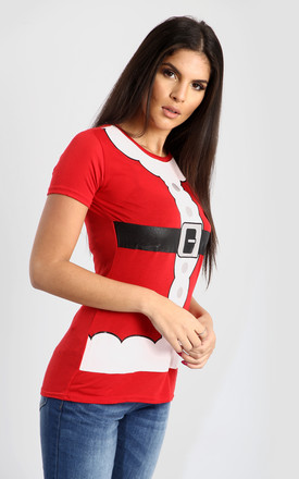 Evie Santa Christmas T-Shirt In Red by Oops Fashion