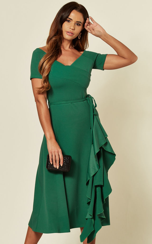 Exclusive bardot off shoulder frill dress emerald green by Feverfish