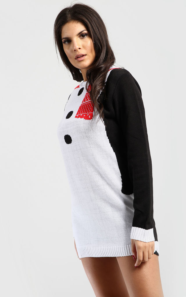 Christmas Jumper Dress In Black Snowman by Oops Fashion