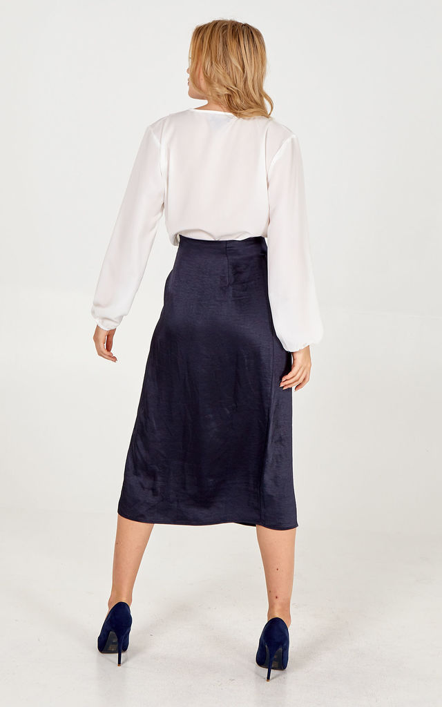 LEXIE NAVY PLEAT FRONT WRAP SKIRT by Blue Vanilla