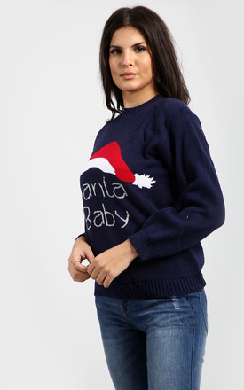 Navy Christmas Jumper With Santa Baby Slogan by Oops Fashion