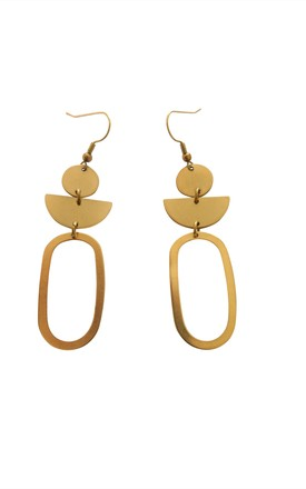 Oval Statement Drop Earrings In Gold Tone Brass by Ohemaa Jewellery Product photo