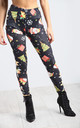 Holly Snowman Sleigh Black Leggings by Oops Fashion