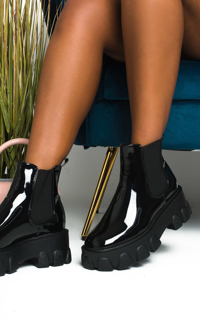 Court Mega Chunky Ankle Boots in Black Patent by IKRUSH