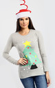 Elsie Christmas Tree & Stars Print Long Sleeve T-Shirt In Grey by Oops Fashion