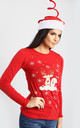 Elsie Christmas Reindeer T-Shirt In Red by Oops Fashion