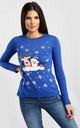 Elsie Christmas Reindeer T-Shirt In Royal Blue by Oops Fashion
