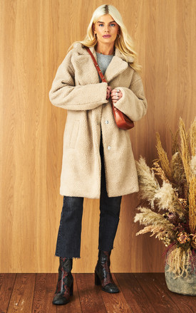 Teddy Coat With High Collar In Cream by VILA Product photo
