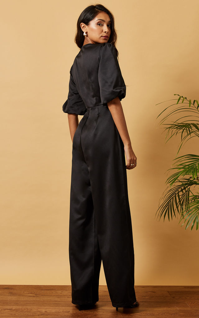 SATIN JUMPSUIT WITH BUTTONS & PUFF SLEEVE IN BLACK by Phoenix & Feather