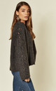 Dark Grey Fuax Mohair Blend Jumper with Lace Up Sleeves by CY Boutique
