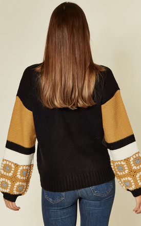 Black/Yellow Jumper With Floral Crochet Sleeves by CY Boutique