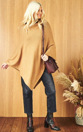 Knitted Poncho With Roll Neck In Brown by VILA Product photo
