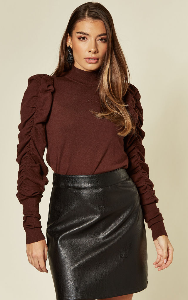 Brown Jumper with Gathered Puff Sleeves by CY Boutique