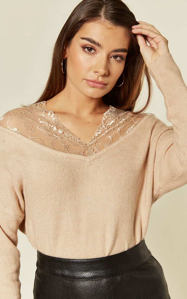 Beige Jumper with Lace Shoulders by CY Boutique