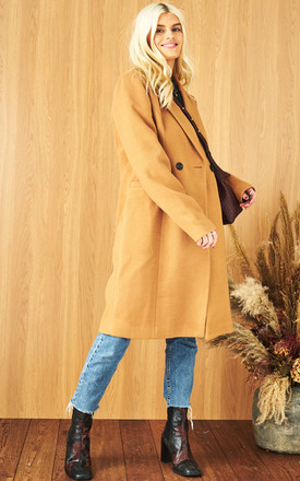 Double Breasted Longline Coat In Brown by VM Product photo