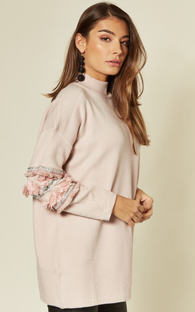 Jumper with Floral and Sequin Embellished Sleeves in Baby Pink by CY Boutique