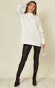 Jumper with Floral and Sequin Embellished Sleeves in White by CY Boutique