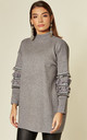 Jumper with Floral and Sequin Embellished Sleeves in Grey by CY Boutique