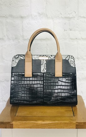 Black And Snakeskin Tote Handbag by Pink Lemonade Boutique Product photo