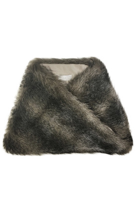 Faux Fur Snood Scarf Agouti Greige by Isabel Wong Product photo