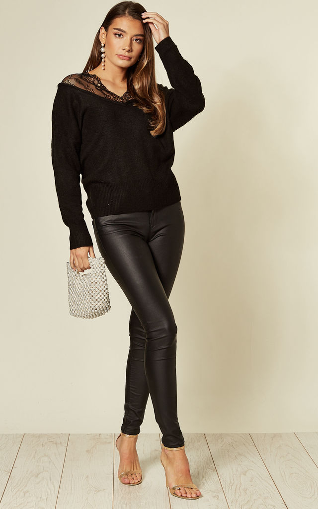 Black Jumper with Lace Shoulders by CY Boutique