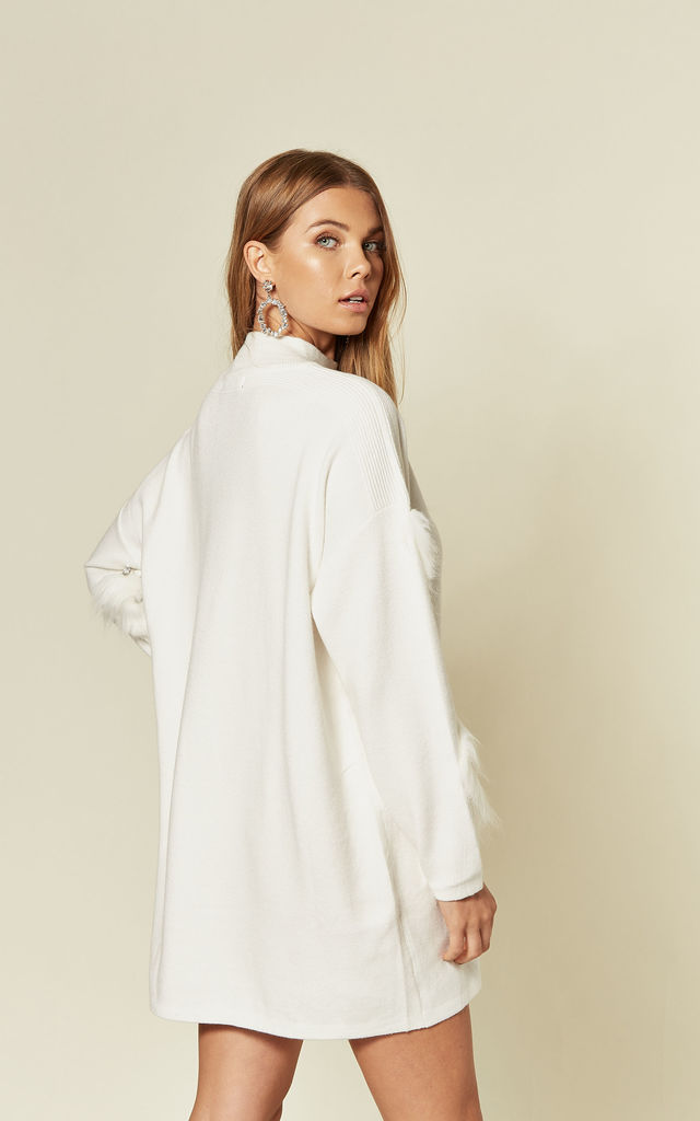 White Jumper Dress with Faux Fur & Crystal Sleeves by CY Boutique