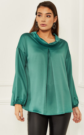 Silky Blouse With Pleats In Green by Bella and Blue Product photo