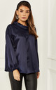 Silky blouse with pleats in Navy by Bella and Blue