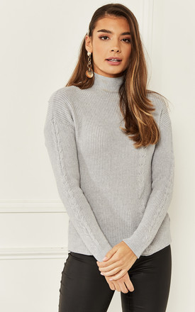 High Neck Fine Knit Jumper In Grey by Bella and Blue Product photo