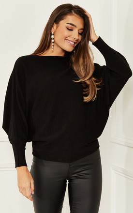 Crew Neck Knitted Jumper In Black by Bella and Blue Product photo