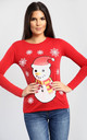 Molly Christmas Snowman & Snowflake Print Long Sleeve T-Shirt in Red by Oops Fashion