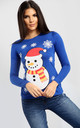 Molly Christmas Snowman & Snowflake Print Long Sleeve T-Shirt in Royal Blue by Oops Fashion