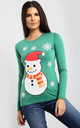 Molly Christmas Snowman & Snowflake Print Long Sleeve T-Shirt in Green by Oops Fashion