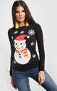 Molly Christmas Snowman & Snowflake Print Long Sleeve T-Shirt in Black by Oops Fashion