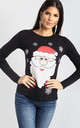 Ruby Christmas Snowflake Santa Print Long Sleeve T-Shirt in Black by Oops Fashion