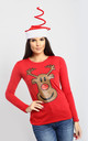Reindeer Christmas T-Shirt in Red by Oops Fashion