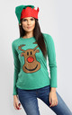 Reindeer Christmas T-Shirt in Green by Oops Fashion