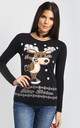 Eva Christmas Dancing Reindeer Print Long Sleeve T-Shirt in Black by Oops Fashion