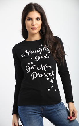 Christmas Naughty Girls Get Presents Long Sleeve T Shirt In Black by Oops Fashion