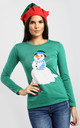 Christmas Snowman Print Top In Green by Oops Fashion