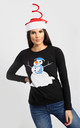 Christmas Snowman Print Top In Black by Oops Fashion