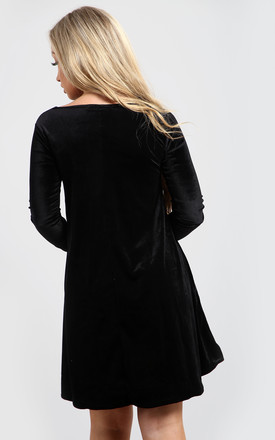 Zoe Velvet Christmas Maternity Mummy's Pudding Swing Dress In Black by Oops Fashion