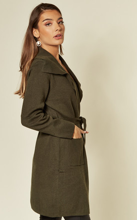 Juno Long Cardigan with Belt in Green by Zibi London