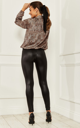 PU Leather Look Leggings in Black by Bella and Blue
