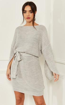 Knitted Mini Dress With Split Sleeves In Grey by Bella and Blue Product photo